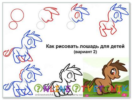 Как нарисовать лошадь ребенку