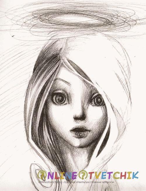 ангел с нимбом рисунок