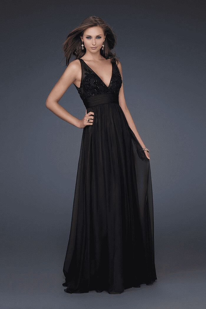 Black La Femme 16992 Layered Sheer Open Back Chiffon Evening Dresses