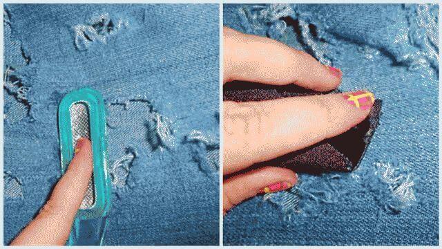 Как сделать дырки на коленях на джинсах?