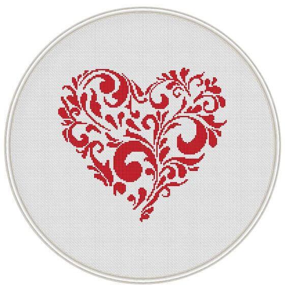 Валентинка своими руками - вышивка