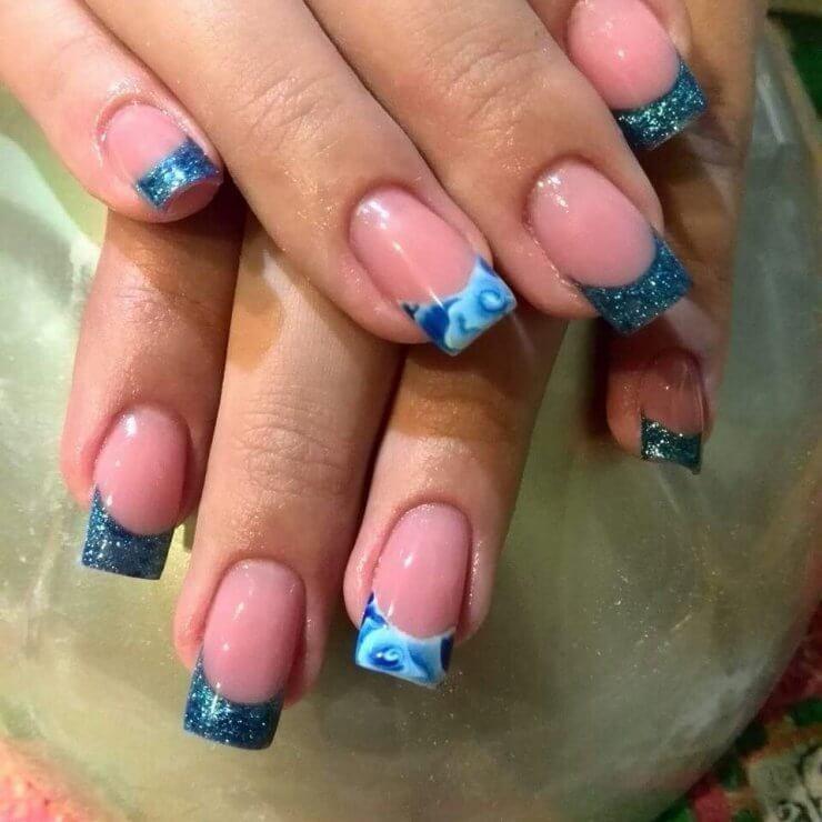 Как сделать ногти двух цветов