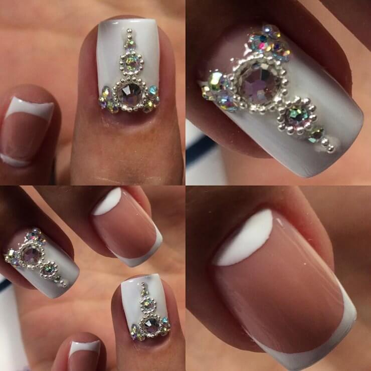 Рисунки на ногтях с цветным френчем фото